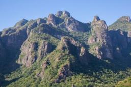 Towering peaks atop the canyon walls