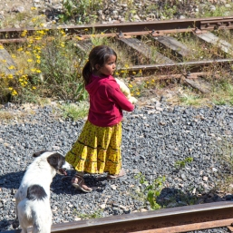 Tarahumara girl and dog