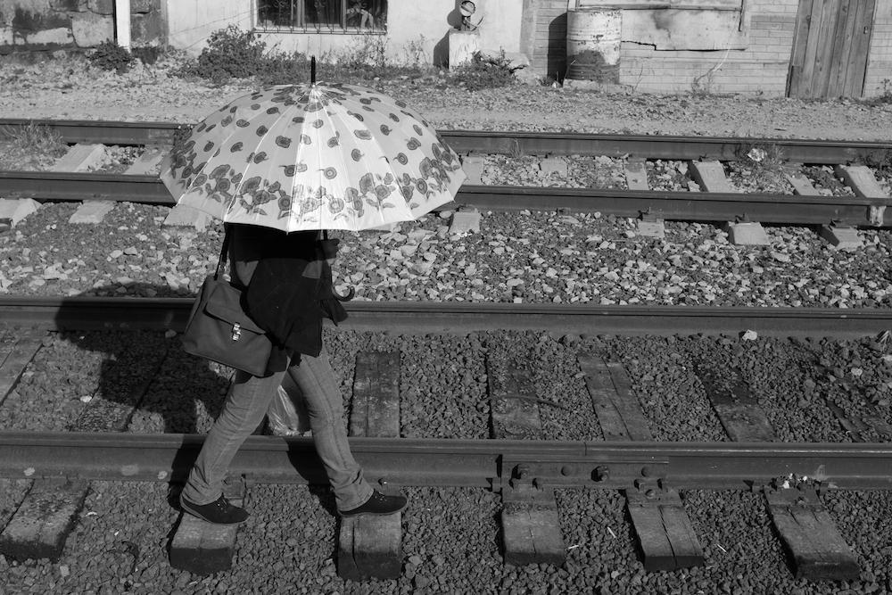 Walking down the train tracks