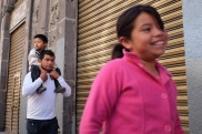 Day 29, Puebla - family on one of the pedestrian streets