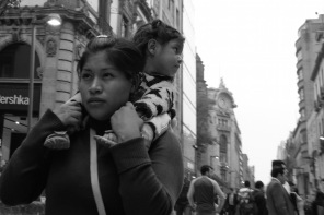 Mexico City Street Photo child and mom