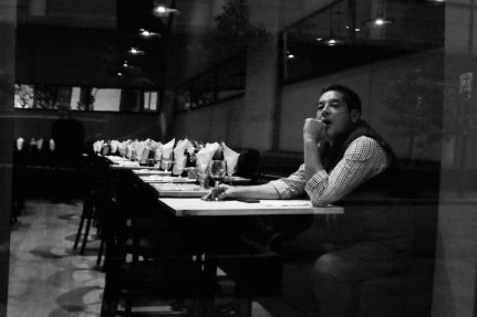 Mexico City man in cafe