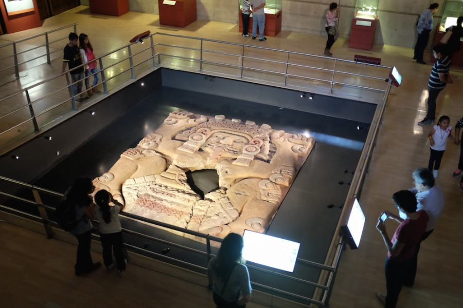 An Aztec carving at the Templo Mayor Museum