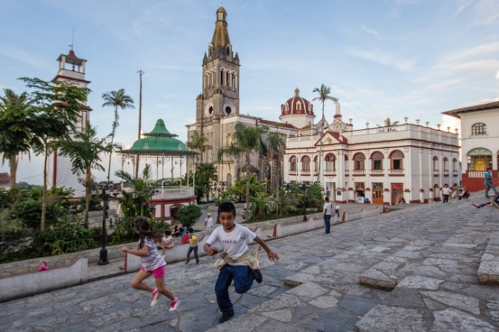 Cuetzalan Mexico kids playing tag