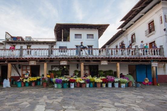 Cuetzalan Mexico flower vendor