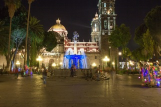 Puebla Mexico zocalo at night