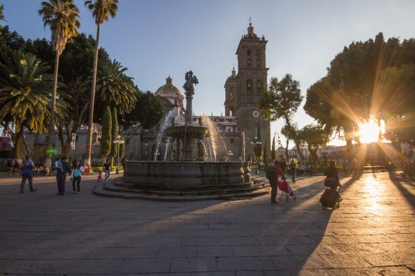 Puebla Zocalo at sunset