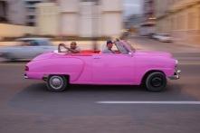 Tourist in classic car