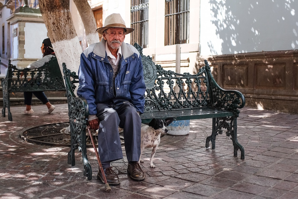 Mexico Street photo man with dog