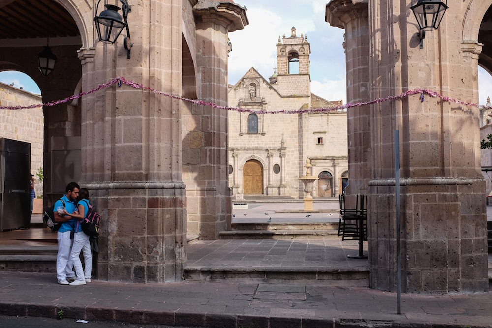 Morelia Mexico cathedral and lovers