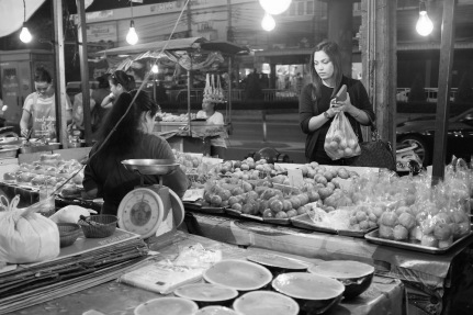 Bangkok street photo fruit vendor