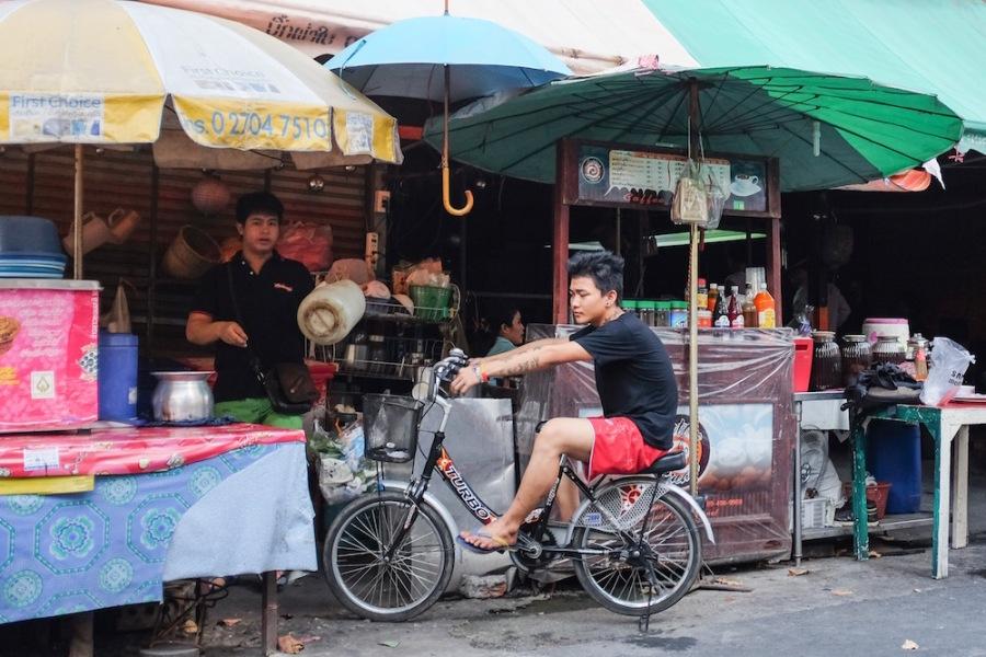 Boy on stationary bike