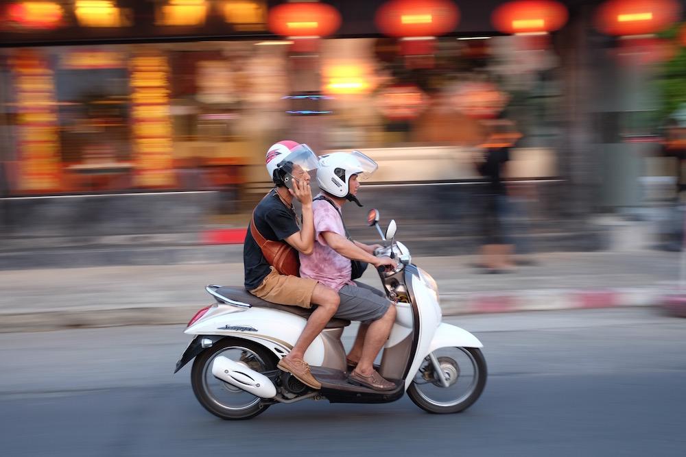Motorbike and Chinese restaurant
