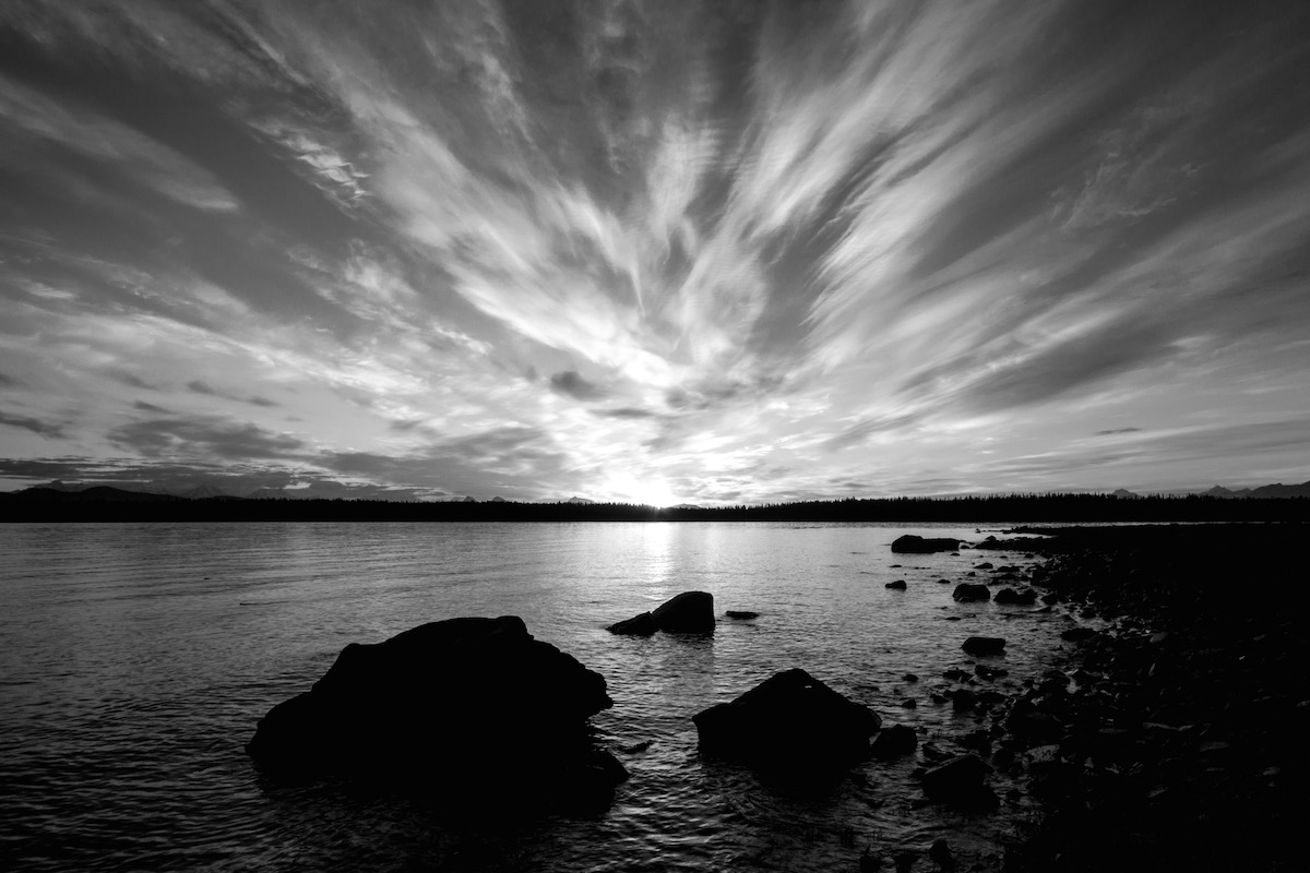 black and white sunset glacier bay