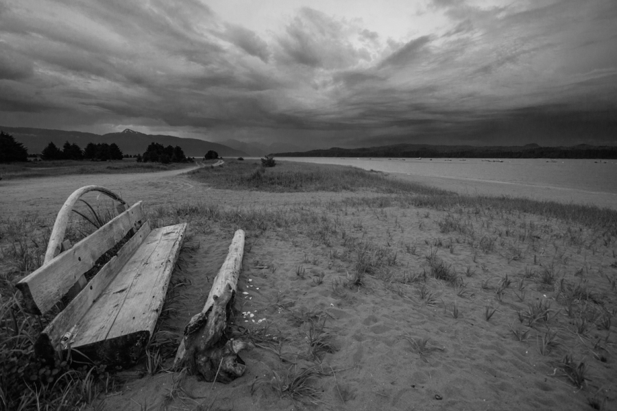 Gustavus beach in black and white