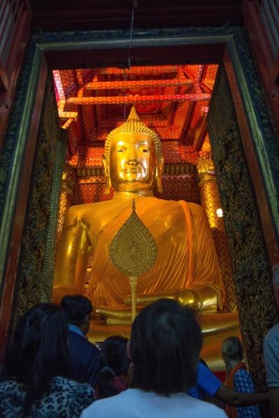 Giant golden Buddha in Ayutthaya.