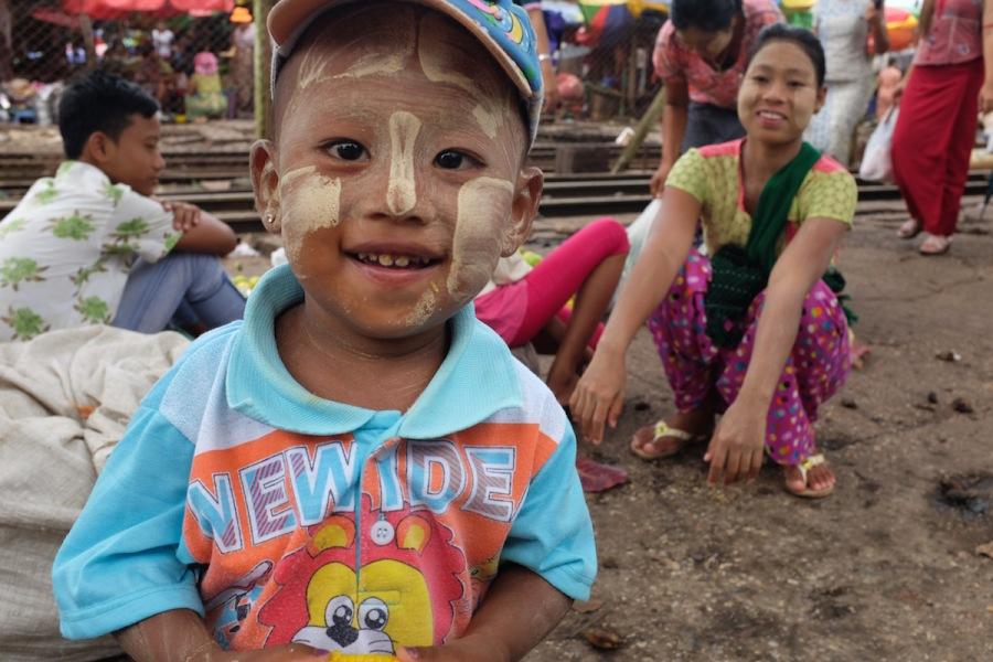 myanmar boy with thanaka
