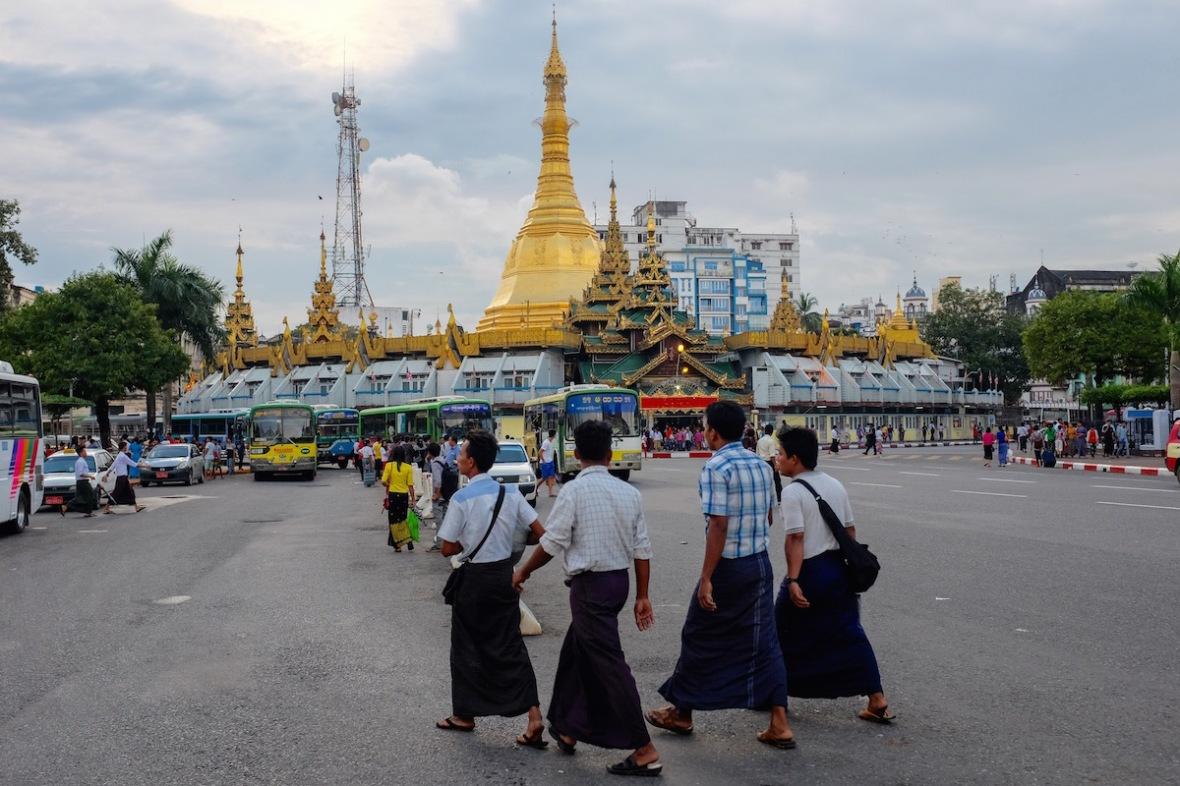 Myanmar men with Longyi
