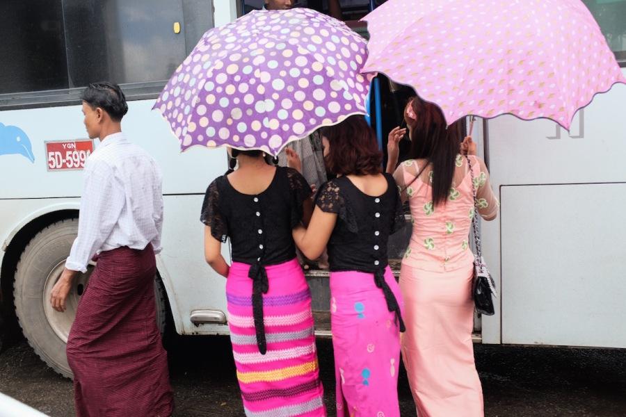 Beautiful dresses of local ladies in Burma
