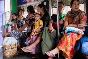 Family inside the circle train.