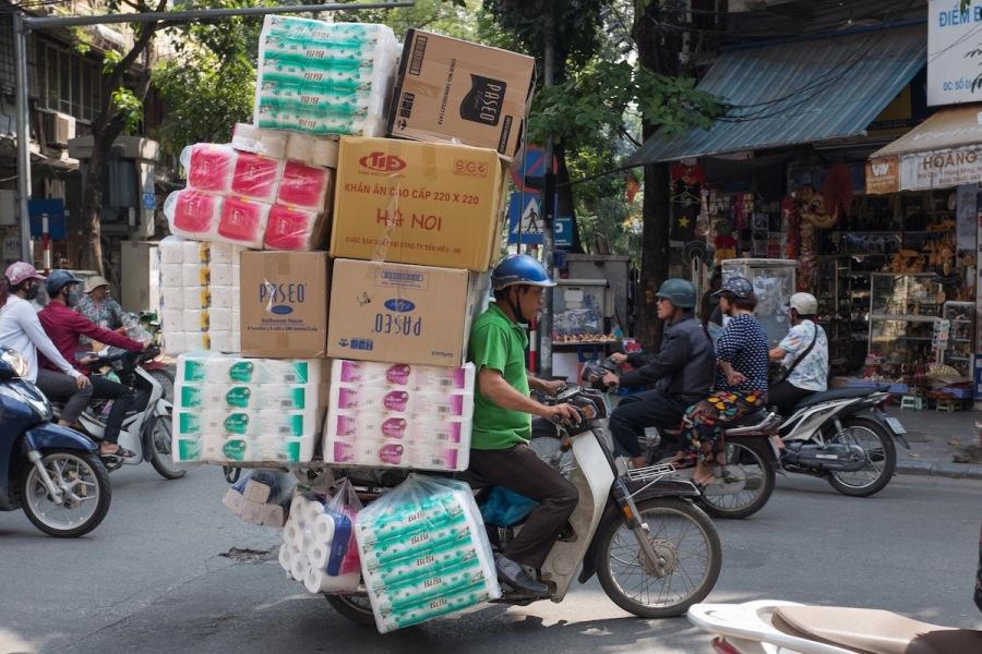 Overloaded motorbike Hanoi