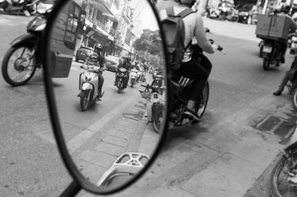hanoi street photo black white