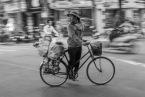 Hanoi street photo black and white