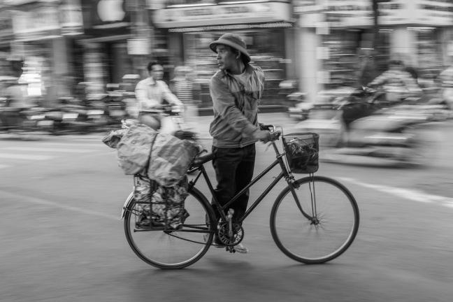 Hanoi street photo black and white