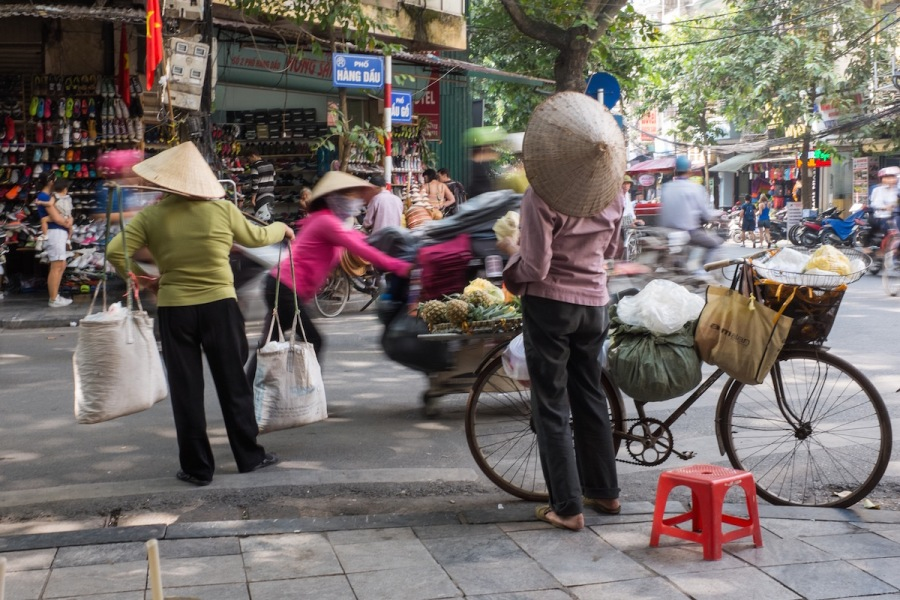 conical hats in Hanoi