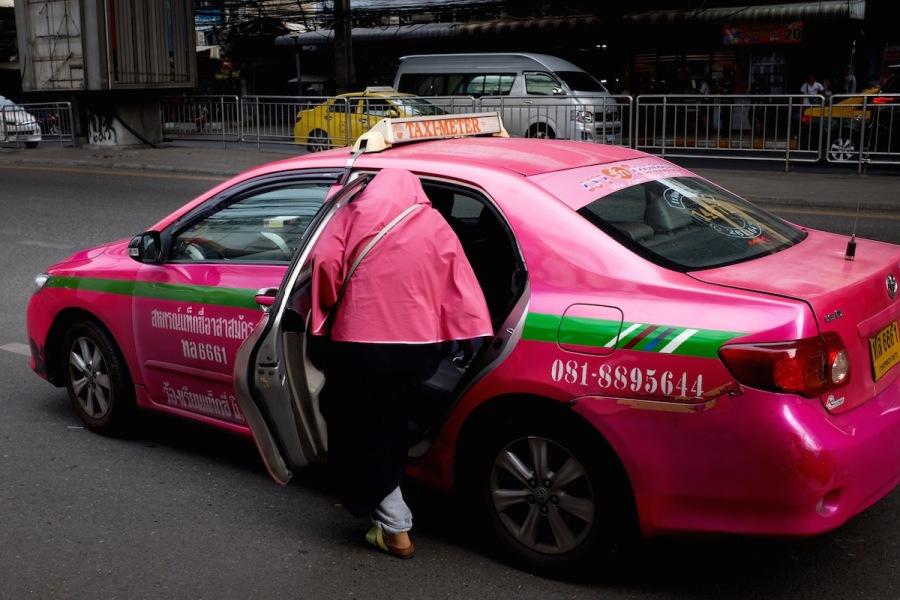 Bangkok pink taxi