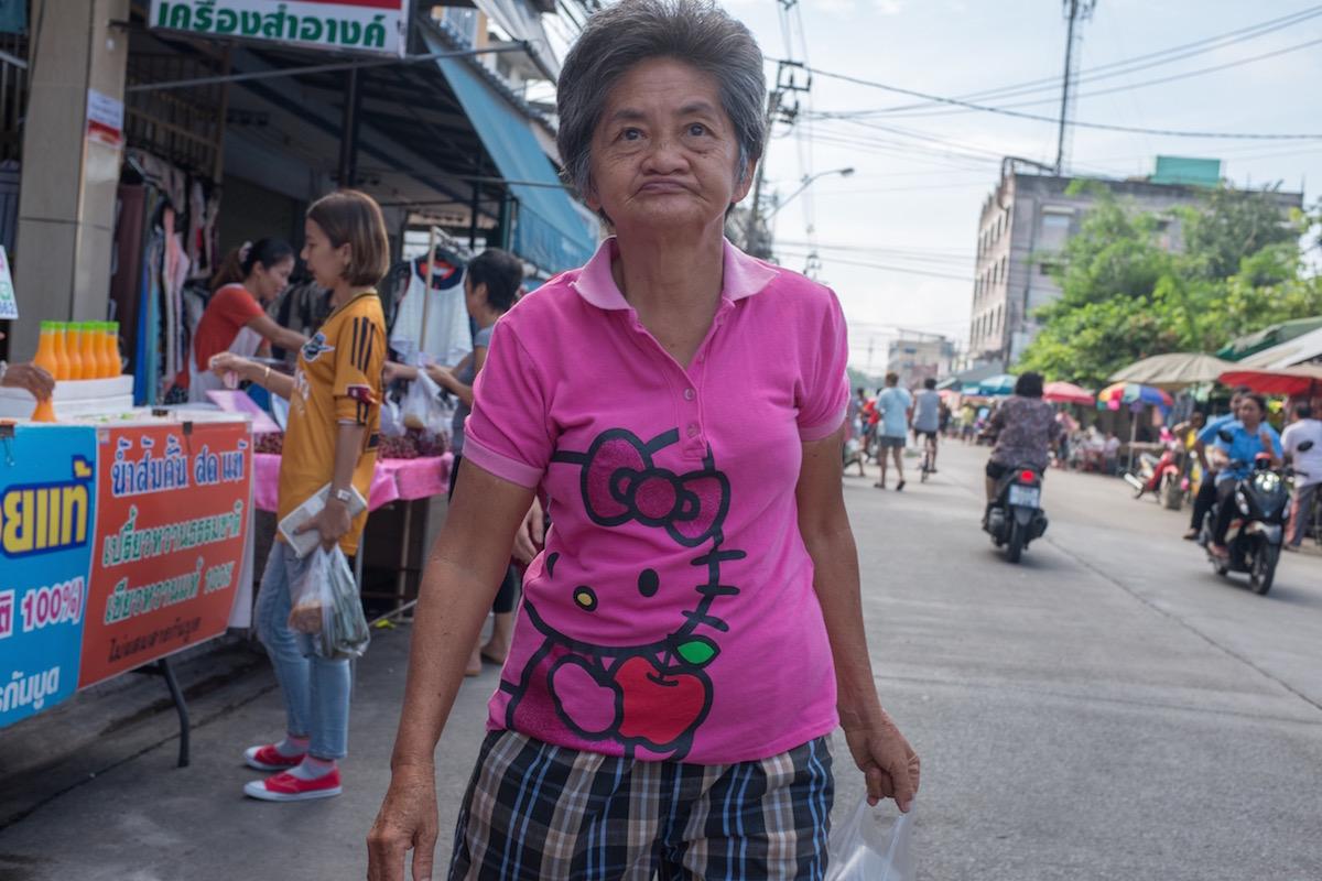 Bangkok lady with Hello Kitty