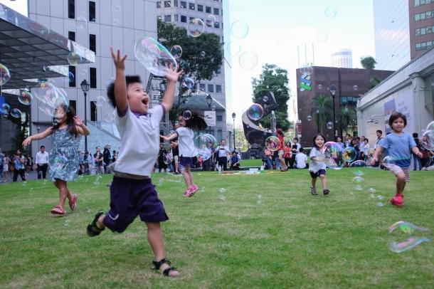 Singapore boy with bubbles