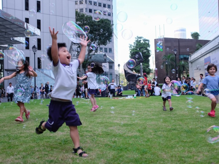 Singapore boy with bubbles
