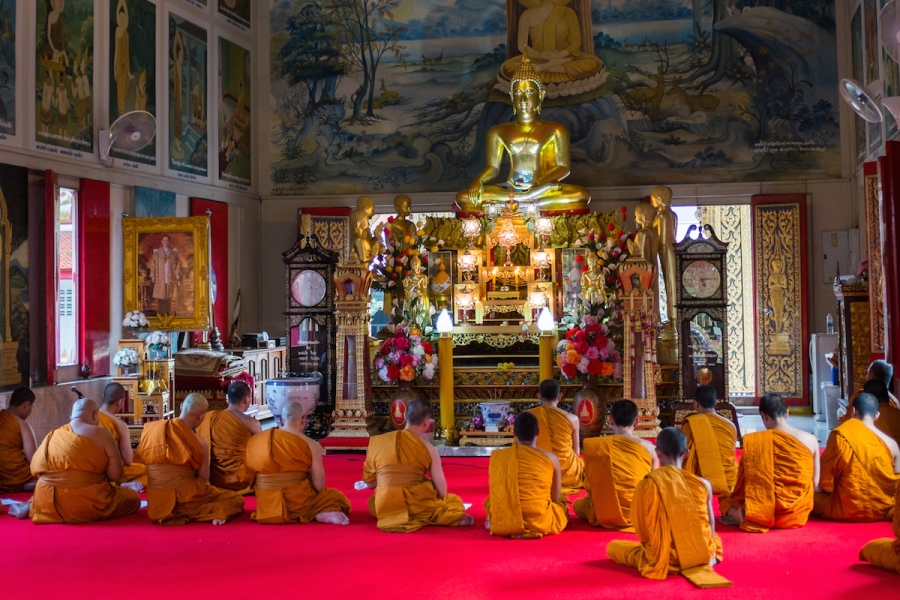 Monks at Wat Tepleela, Bangkok
