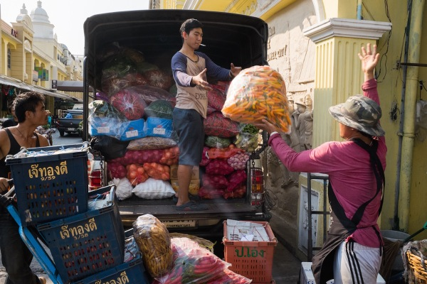 Men Loading a Truck at the Flower Market