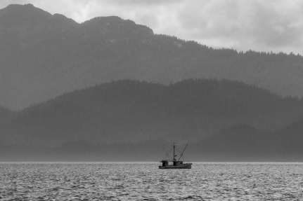 Fishing boat black and white