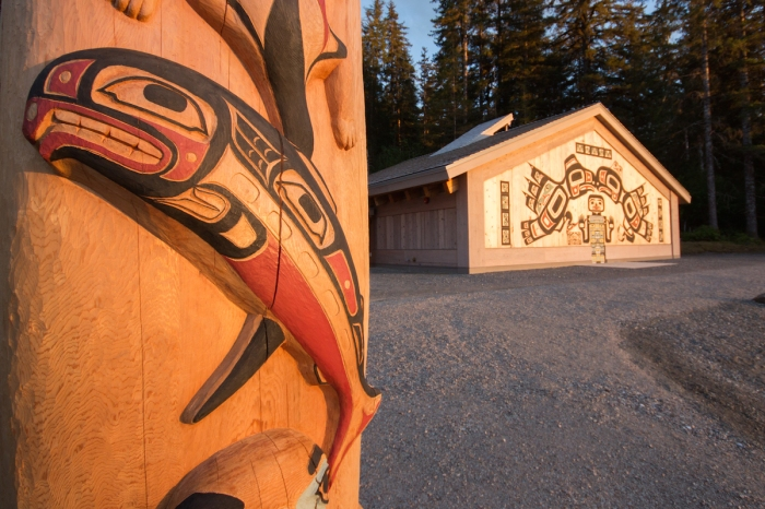 Glacier Bay Tribal House Totem pole and exterior