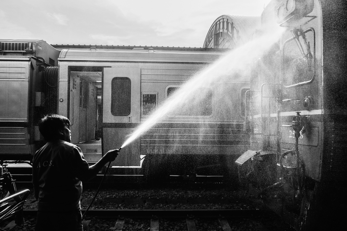 Hua Lamphong Train Station Black and white