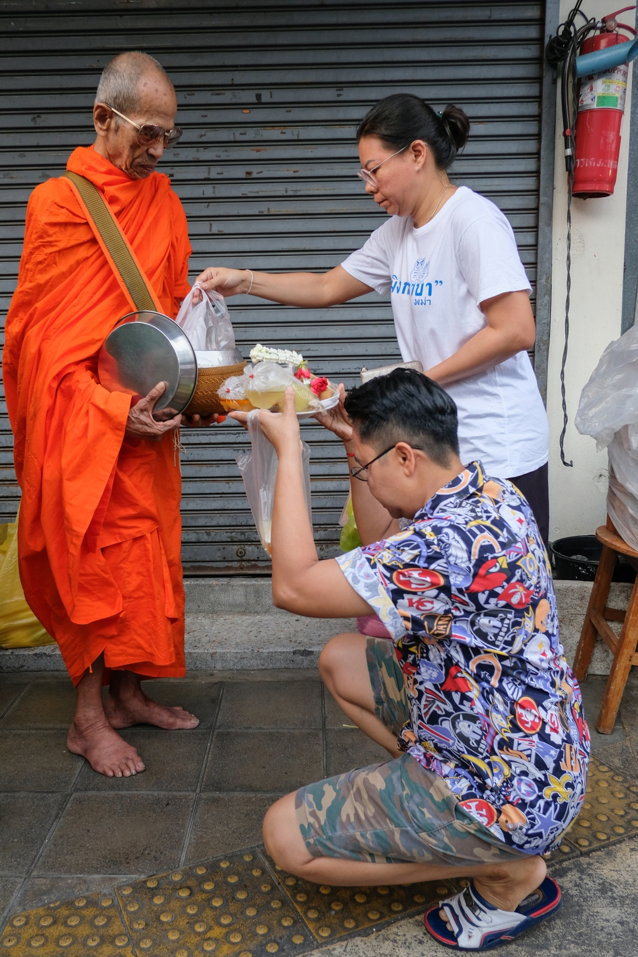 Monks Collecting Alms in Bangkok