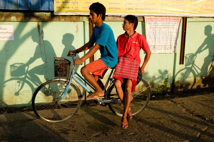 Yangon street photography bikes and shadows