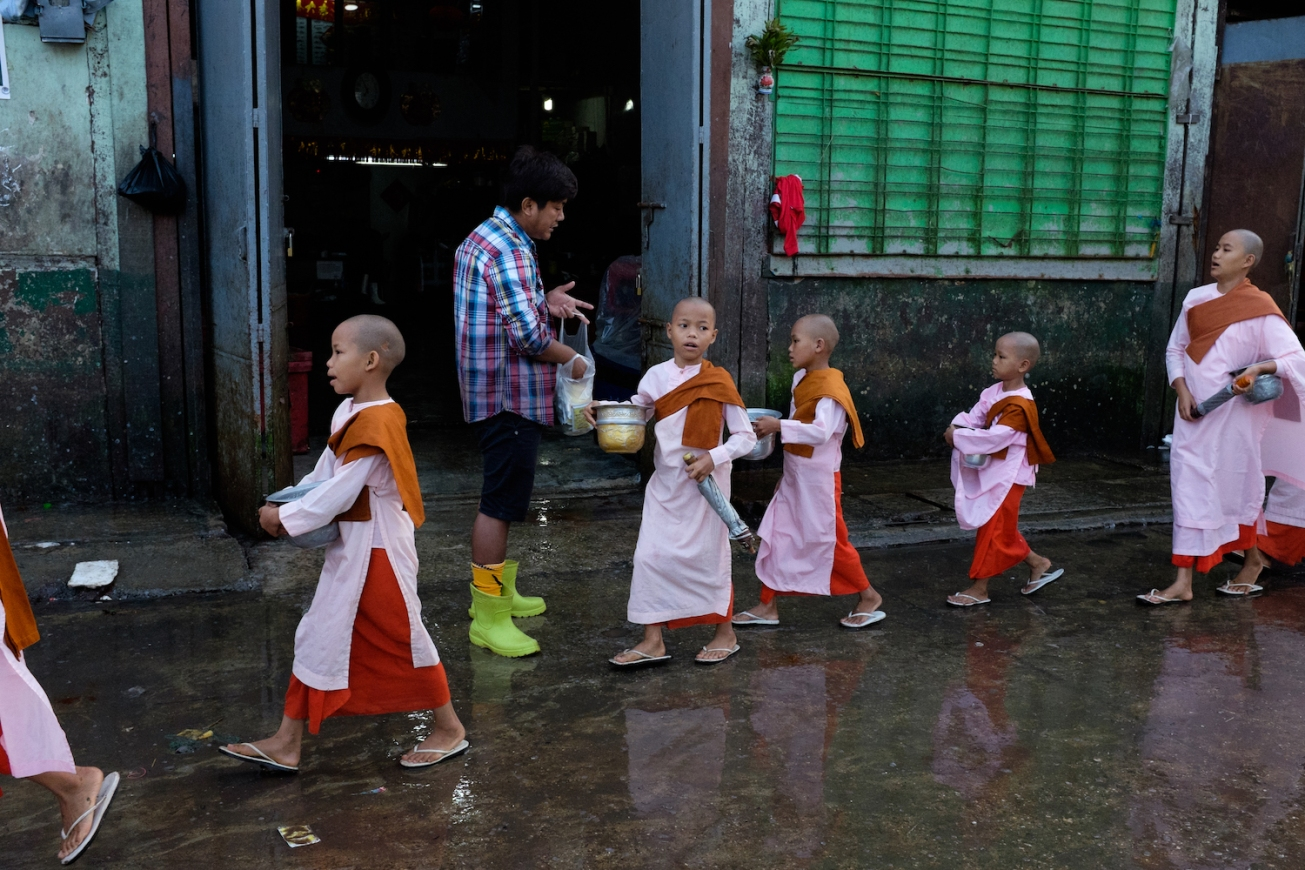 Yangon street photography nuns