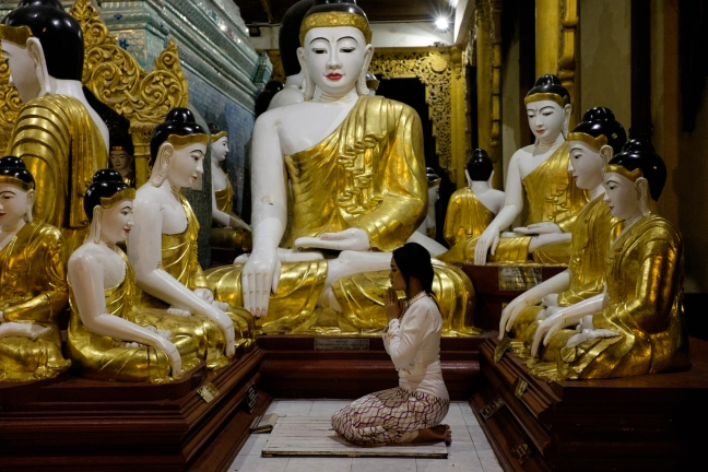 Shwedagon Pagoda Woman Praying