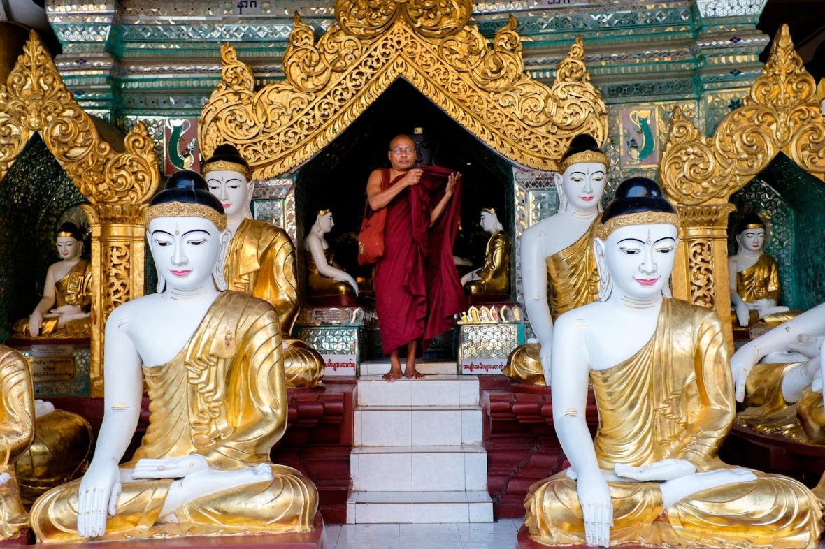 Shwedagon Pagoda Monk street photography