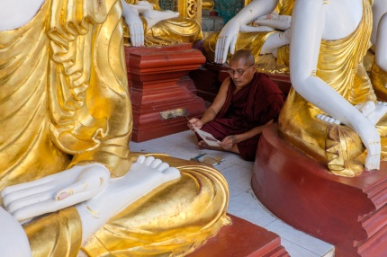 Shwedagon street photography monk