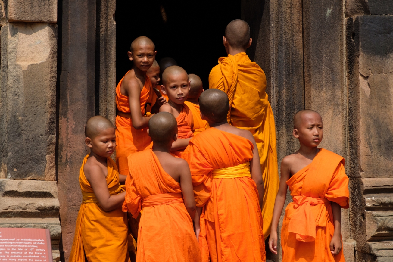 Thailand Monks at Phanom Rung