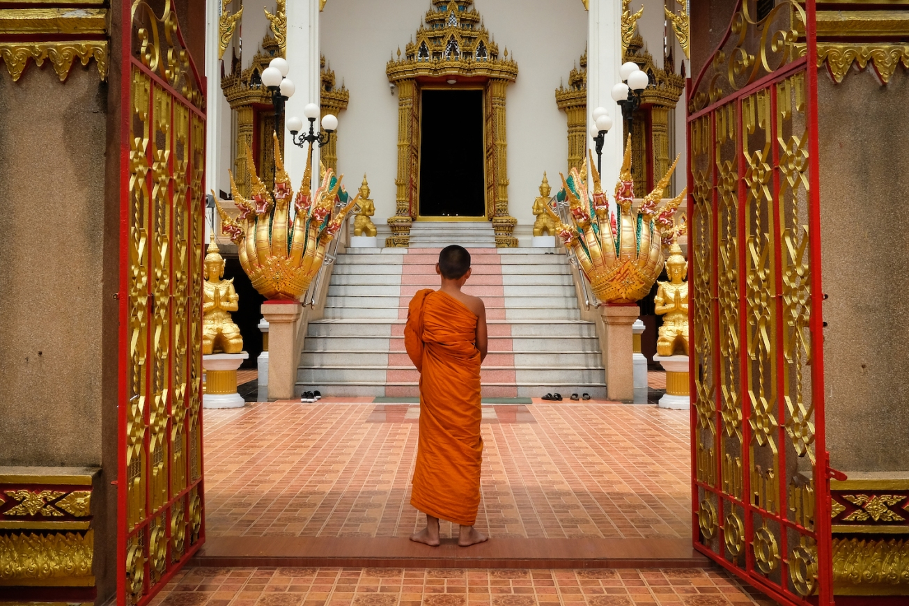 Monk at temple in Thailand