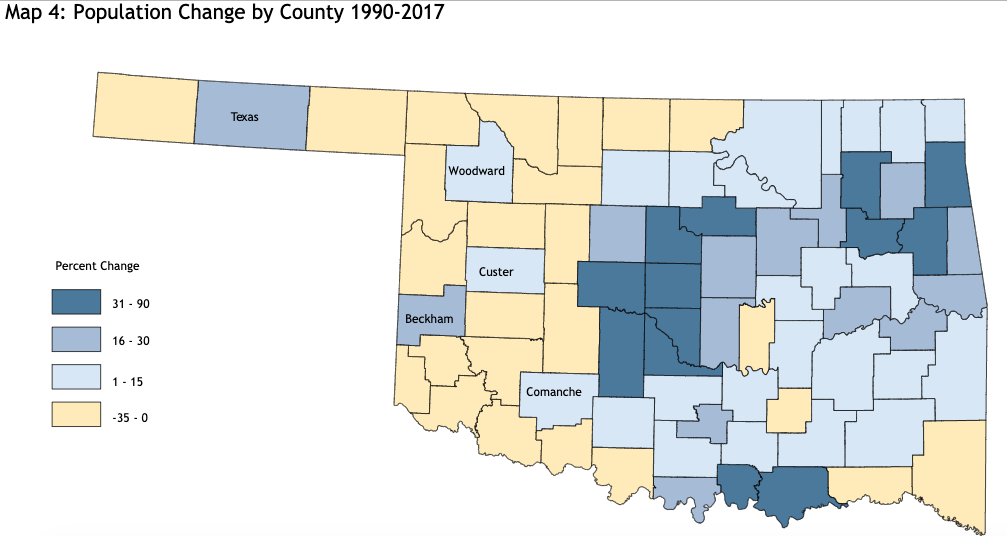 Oklahoma population decline map