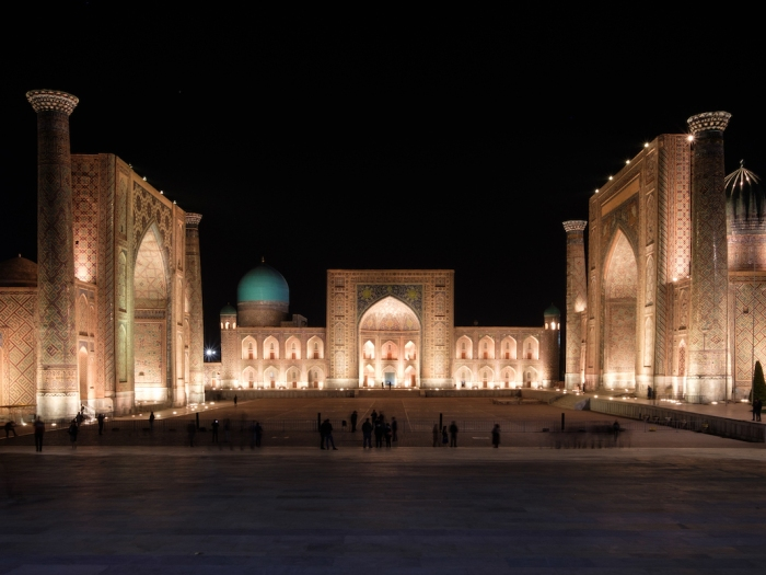 Registan Samarkand at night